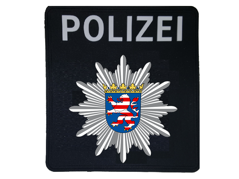 Rubber Patch mit Klett Polizeistern Hessen